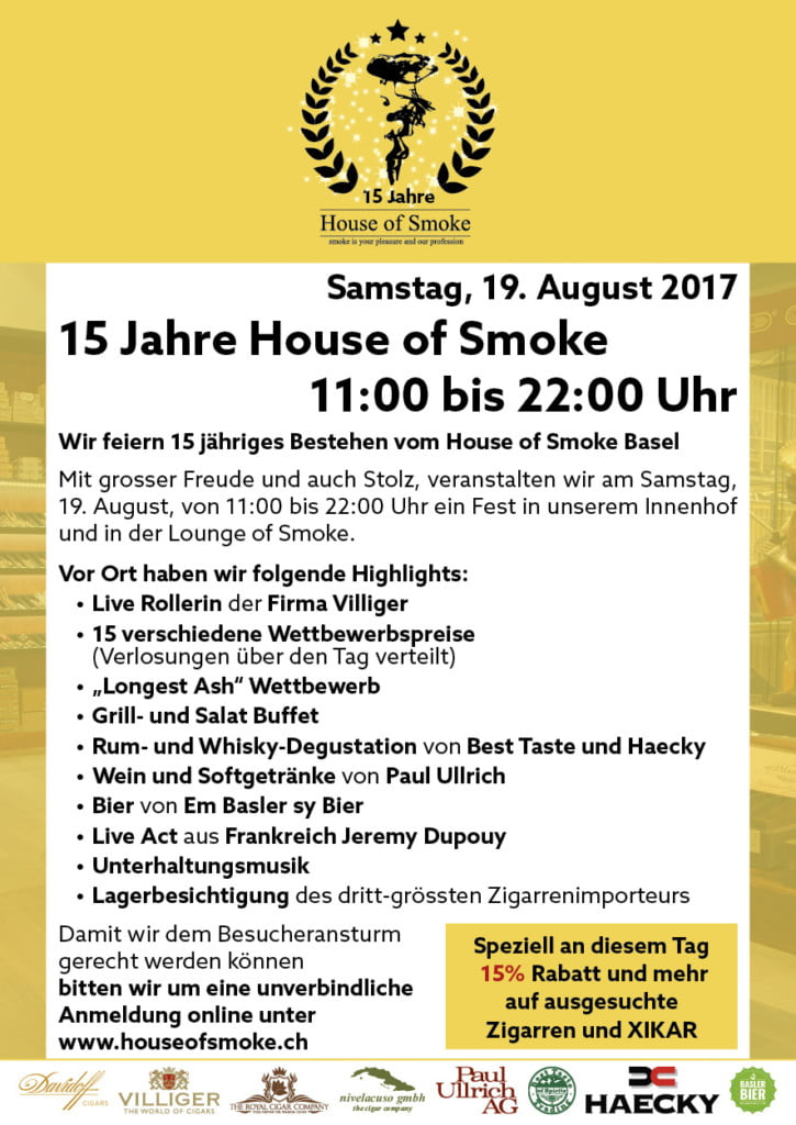 15 Jahre House of Smoke Flyer