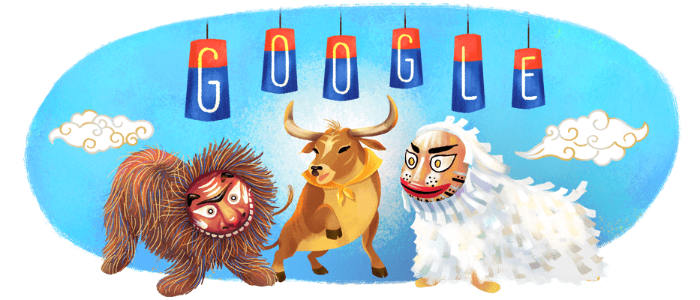 Mond-Neujahr Süd Korea Google Doodle